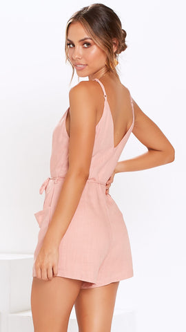 Lean on me playsuit - Blush