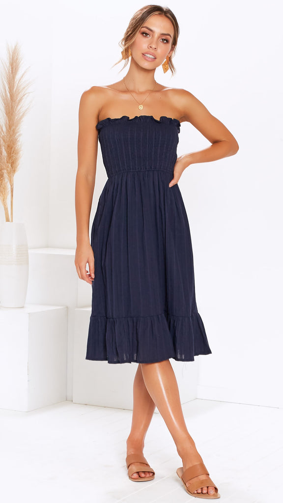 Cascade Dress - Navy
