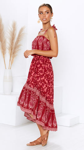 Gypsie Queen Dress - Red Floral