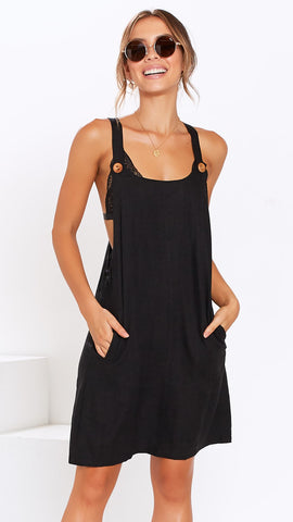 Barbados Pinafore Dress - Black