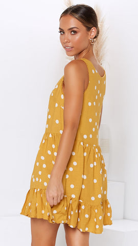 Only Girl Dress - Mustard Polka