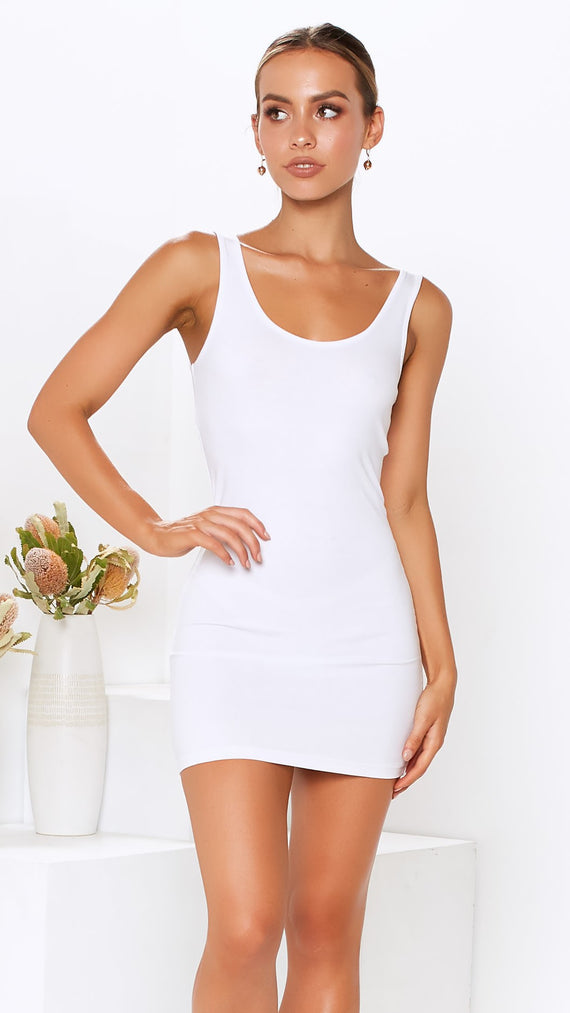 Whitney Tank Dress - White