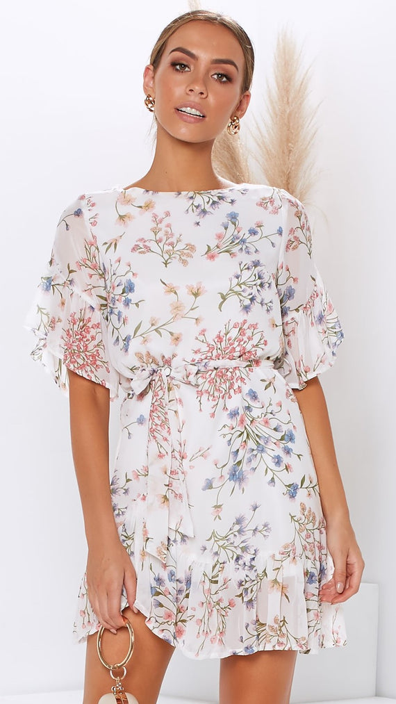 Jenner Dress - White Floral