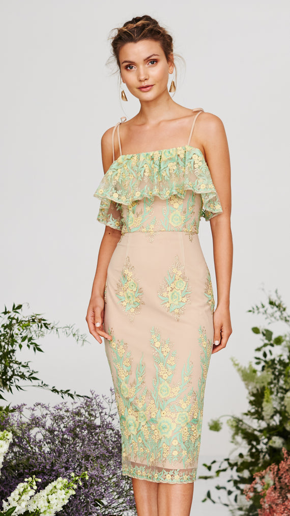 Lemongrass Knee Length Dress - Citrus Lime- Cooper St
