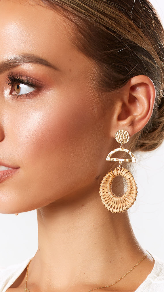 Marlena Earrings - Camel/Gold