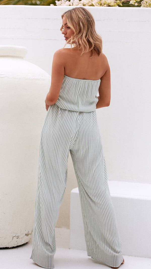Morrocan Days Jumpsuit - Mint Stripe