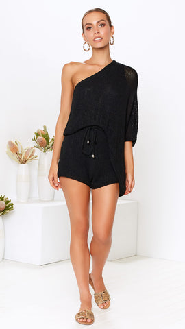 Astrid Top and Short Knit Set - Black
