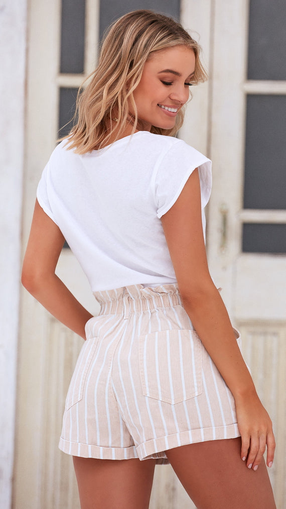 Scandi Paperbag Denim Shorts - Tan/White Stripe