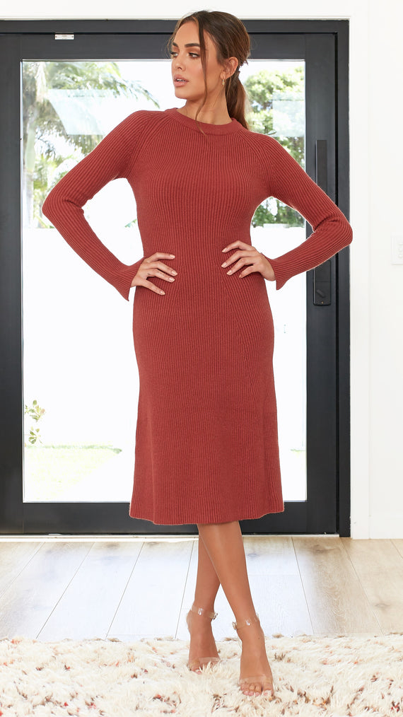 Brooklyn Knitted Dress - Rust