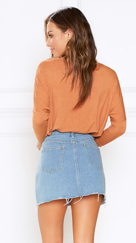 Milan 3/4 Sleeve Top - Rust