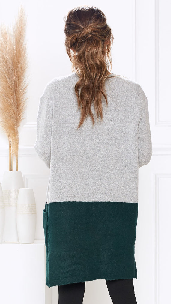 Nottingham Cardigan - Grey/Green