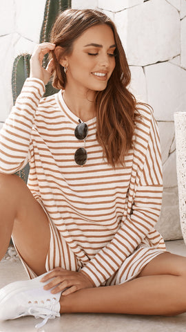 Lucy Knit Dress - Tan Stripe