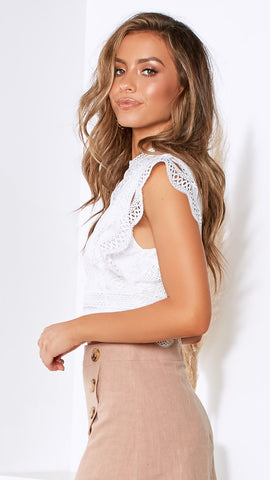 Sleeping Sun Lace Top - White