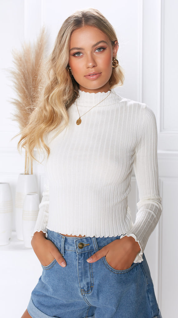 Bethany Ribbed Knit Top - White