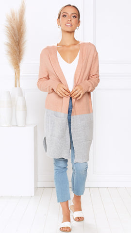 Nottingham Cardigan - Grey/Pink