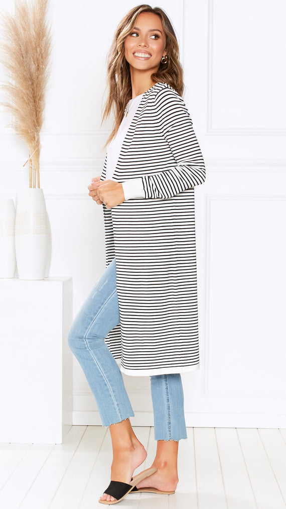 Leah Knit Cardi - White/Black Stripe