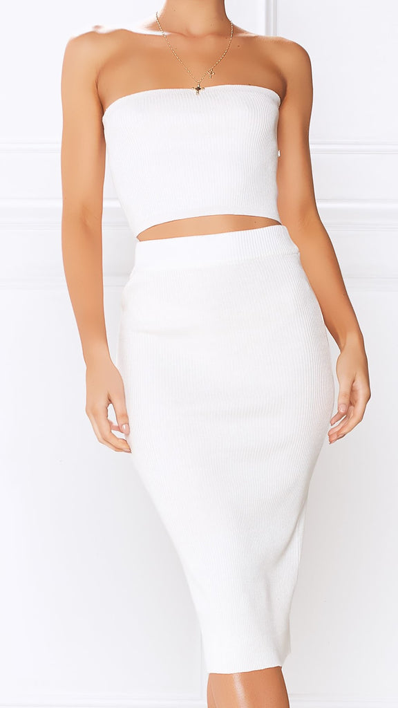 Miley Top & Skirt Set - White