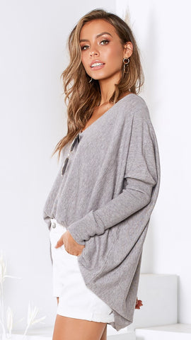 Amalia Knit Top - Grey