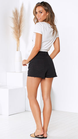 Revolt Denim Shorts - Black Denim