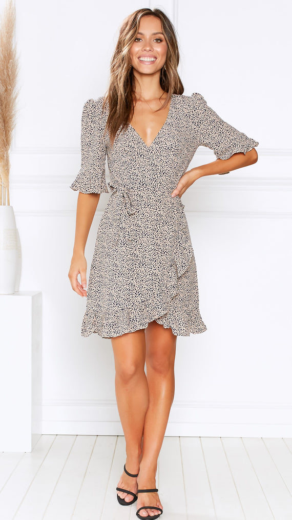 Twiggy Wrap Dress - Beige/Navy Pebble