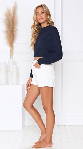 Love Sick Knit Top - Navy