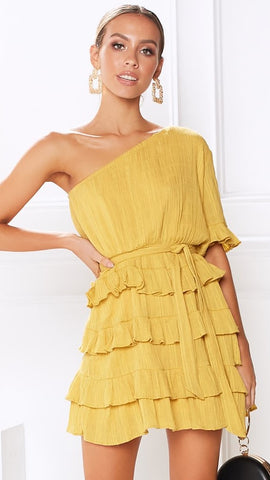 Florence Ruffle Dress - Mustard