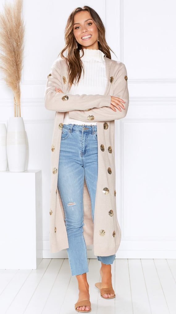 Alabaster Knit Cardigan - Sequin Polka