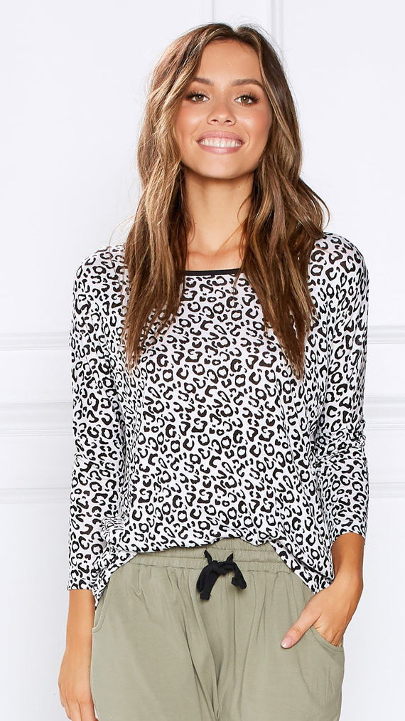 Milan 3/4 Sleeve Top - Leopard