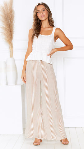 Essential Wave Pants - Beige/White Stripe