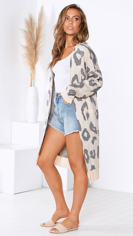 Henley Cardigan - Blush/Grey Leopard