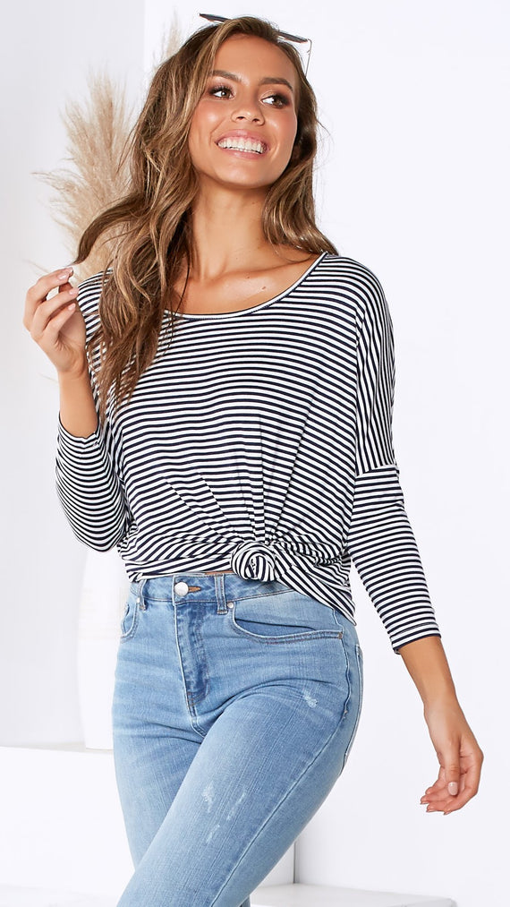 Milan 3/4 Sleeve Top - Navy & White Stripes