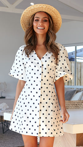 Lottie Dress - White/Navy Spots