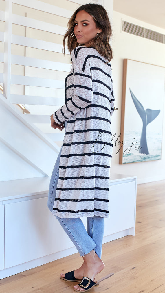 Mila Knit Cardigan - Stone/Black