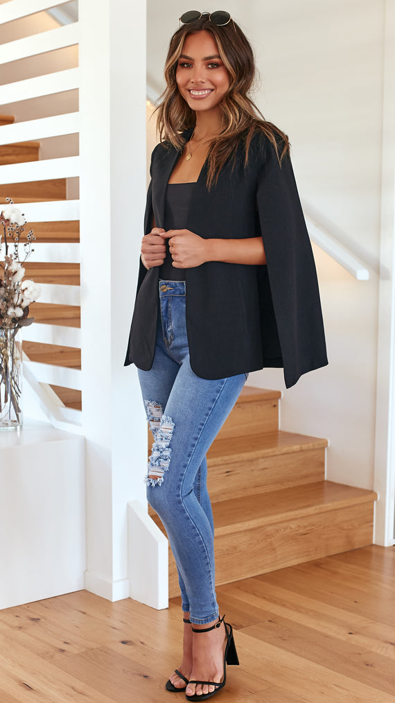Uptown Cape Blazer - Black