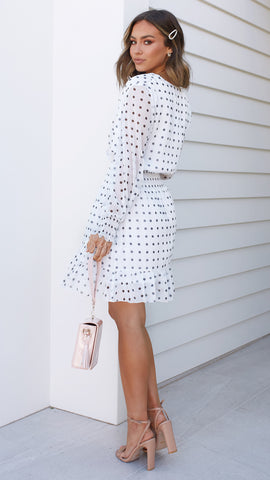 Noelia Dress - White Polka