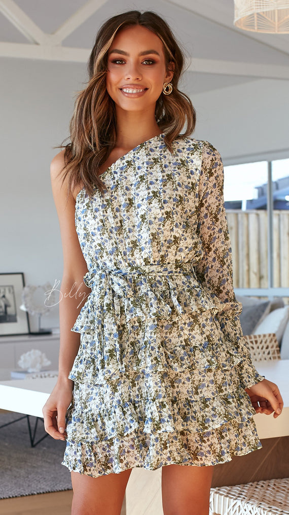 Corrina Dress - Blue/Green Floral