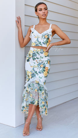 Willow Top and Skirt Set - Green/Yellow Print