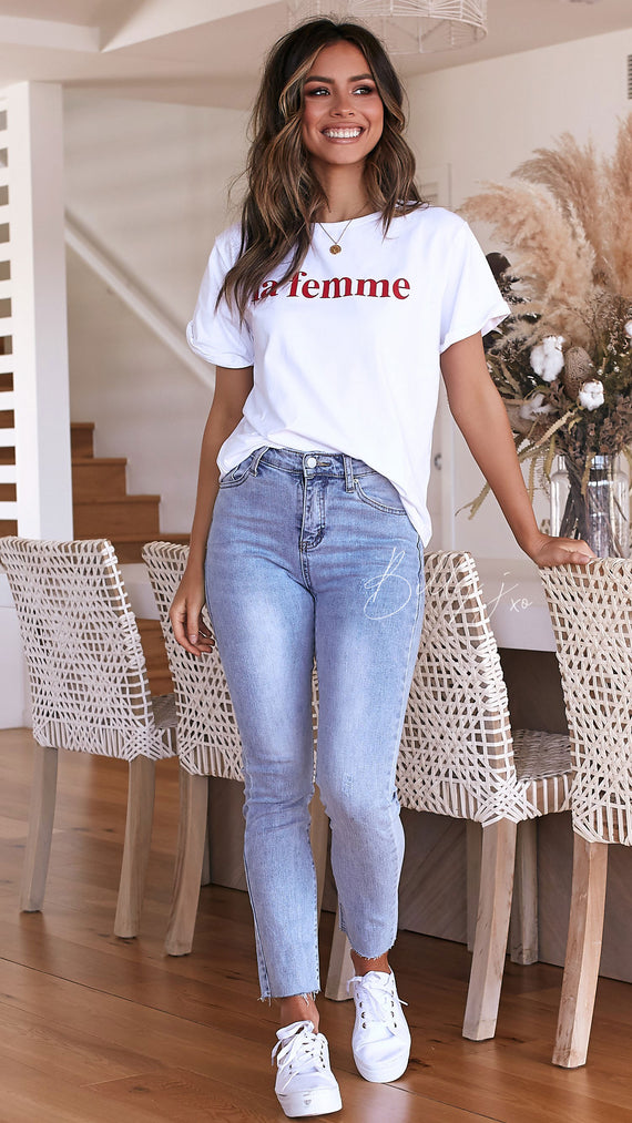 La Femme Tee - White/Red