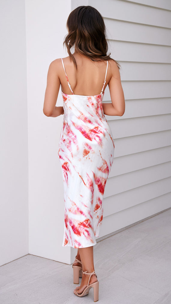 Aera Dress - White/Pink Tie Dye