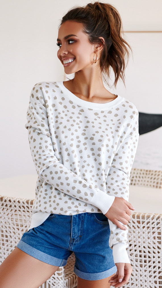 Baylee Knit Top - Ivory/Natural Leopard