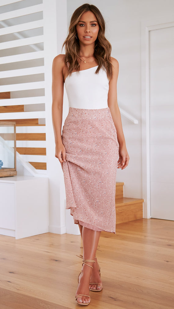 Among the Roses Skirt -Blush Floral
