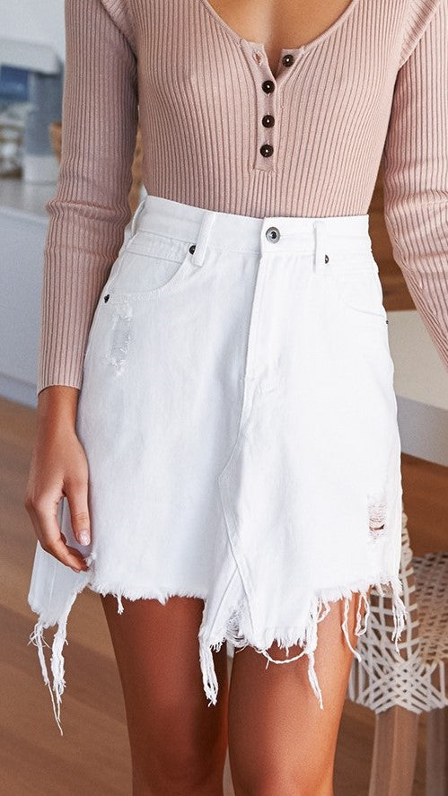 Jaymee Denim Skirt - White