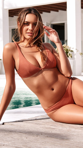 Textured Rib Bikini Set - Copper