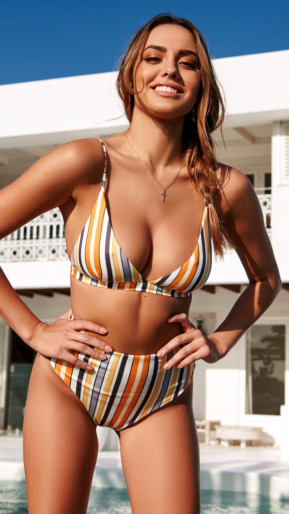 Kaya Bikini Set - Orange Stripe