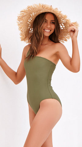 TEXTURED RIB ONE PIECE - KHAKI