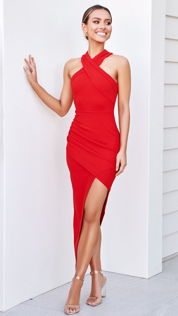 In the Moment Dress - Scarlet
