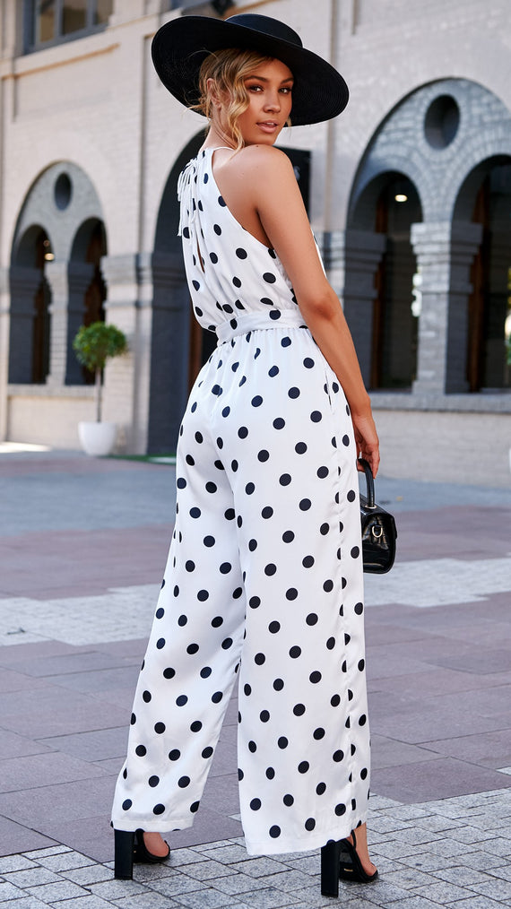 Mellana Jumpsuit - Black/White Spots