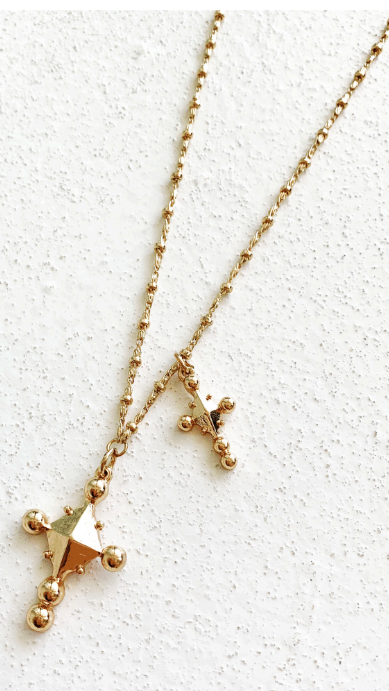 Ivy Cross Pendant - Gold