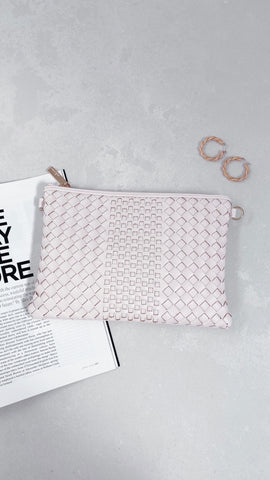 Mixed Weave Zip Pouch - Cream