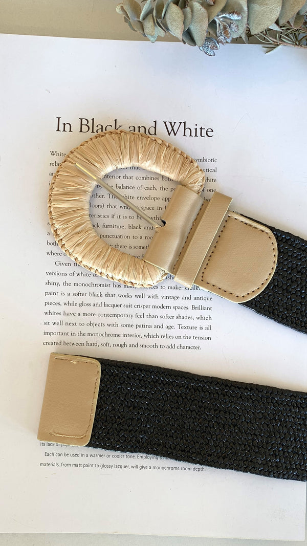 Camilla Belt - Straw Buckle/Black